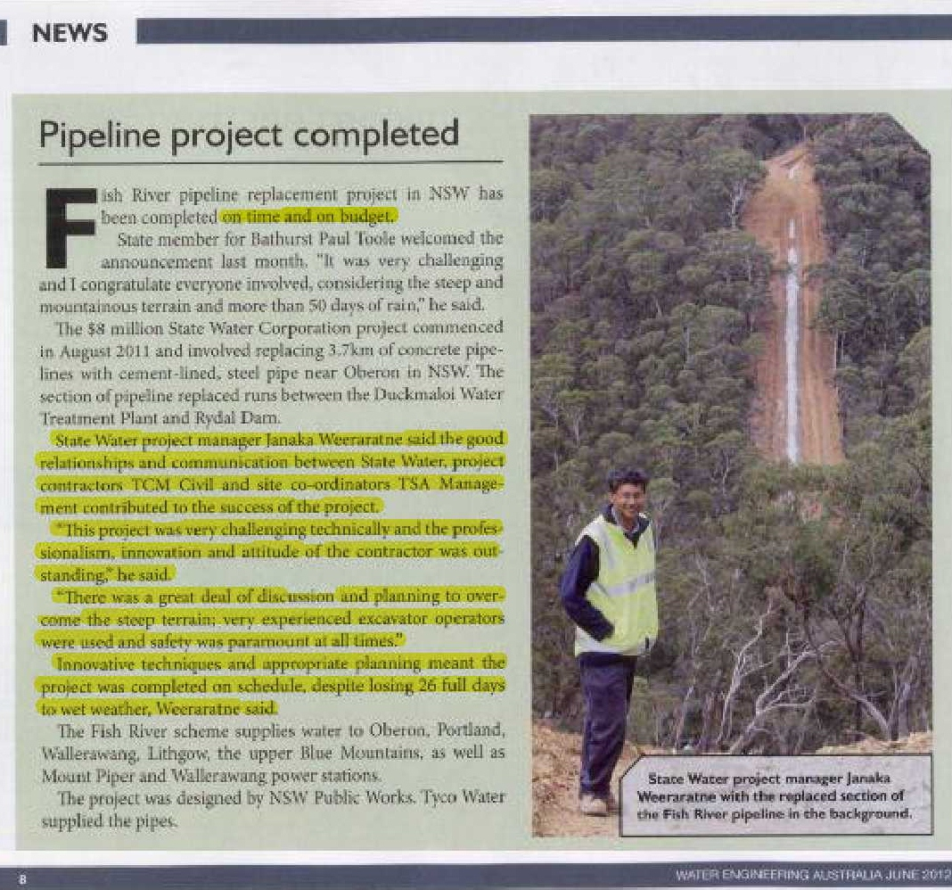water engineering australia magazine article